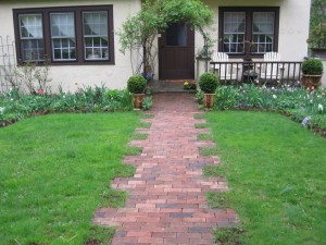 Brick walkway kept weed free with the use of boiling water.