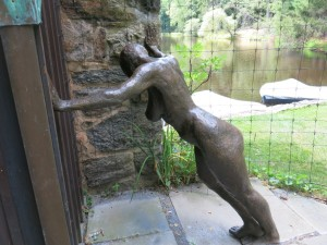 One can only see this sculpture if one comes around the corner of the pool house at the Bakwin garden. It is like a figure pausing for breath after a swim or game of tennis. I love that element of art situated so cunningly.